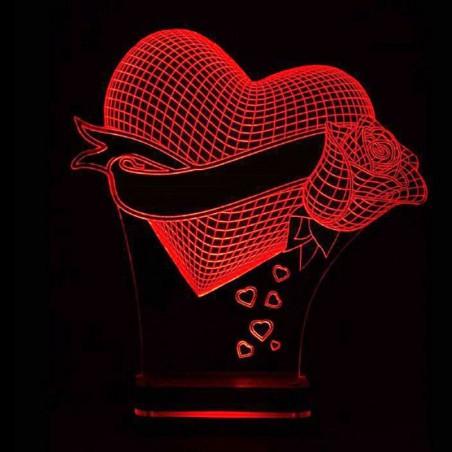 چراغ خواب سه بعدی مدلCHKH-001 قلب و گل