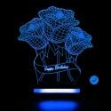 چراغ خواب سه بعدی طرح گل تولد CHKH-0014