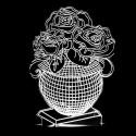 چراغ خواب سه بعدی طرح گلدان گل رز CHKH-0017