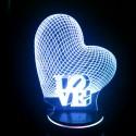 چراغ خواب سه بعدی طرح عاشقانه قلب و و لاو کد CHKH-0016