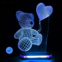 چراغ خواب سه بعدی طرح خرس و بادکنک کد CHKH-026